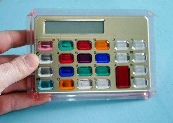 Vintage 1990s GEM JEWELED Calculator WORKS by GadzinasHamper, $18.00