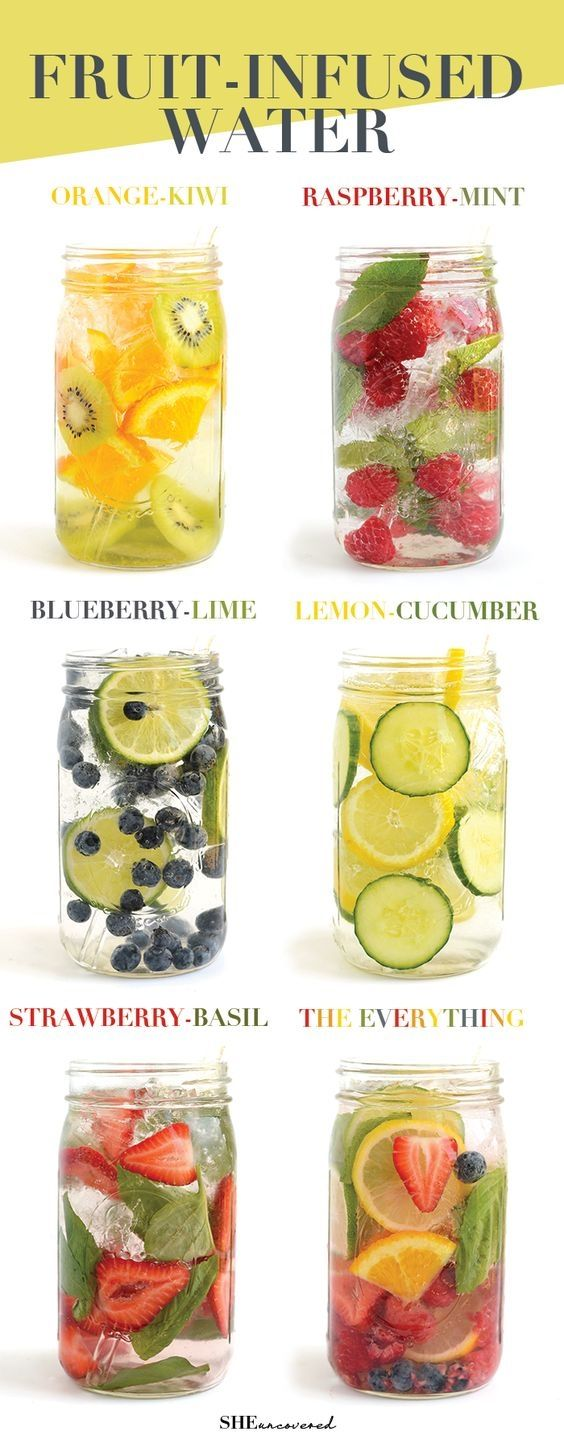 Get in your daily water quota with this Fruit-Infused Water - 6 ways! From berries, to citrus, to cucumber and herbs, we've got you covered for refreshing drink recipes all summer long! #weightlosstips