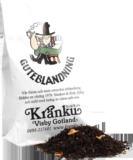 Guteblandning - föddes en vårdag 1978 och är vår första och mest omtyckta teblandning. Smaken är frisk, fyllig och mild med inslag av citrus och anis.    // Our first and most popular tea blend.