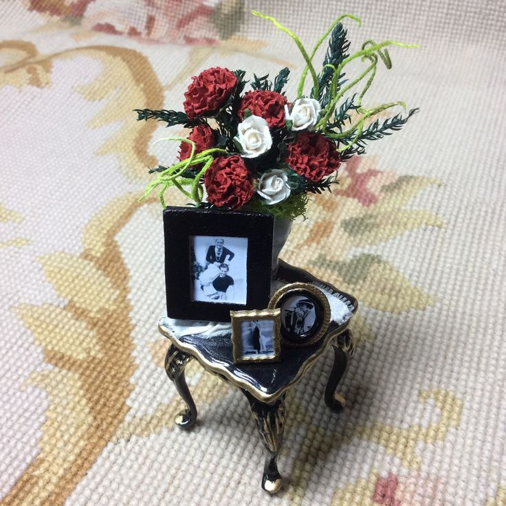 "OOAK Black Side Table measures approximately 1 1/2"" Wide, 1 3/4"" Tall, and 1 1/2"" Deep. I dressed this table with floral arrangement in a Bespaq China vase, Silk drape, Genuine Leather picture frame a"
