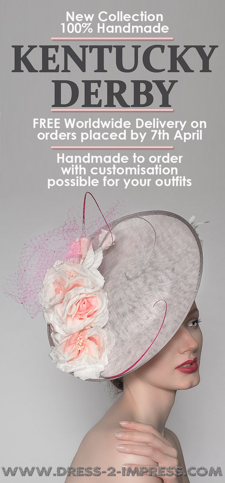 New Kentucky Derby Hats Collection. Handmade in the UK, with Free Worldwide shipping on orders between 18th Feb and 7th April. Have yours Custom Made for your outfit. Designer Hats for the races. Kentucky Derby Racing Day fashion outfits ideas and inspiration. #kentuckyderby #derbyoutfits #derbyhats #fashion #passion4hats #racingfashion