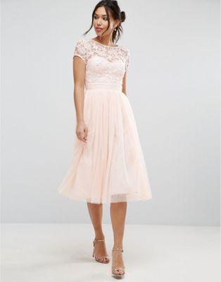 Little Mistress Short Sleeve Lace Bodice MiDi Dress With Tulle Skirt