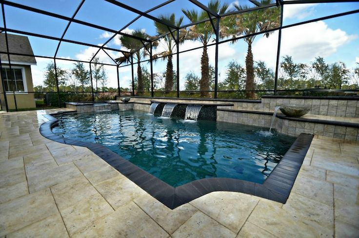 this pools has a strong grecian design with raised wall and sheer descents fl swimmingpools pooldesigns our pool designs pinterest trees