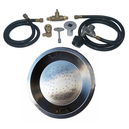 Stainless Steel Drop-In Fire Pit Burner Kit for 20 lb Portable LP Tank Propane  #Dreffco