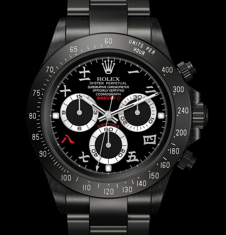 Rolex BREVET PLUS Daytona with CHINESE DIAL.Rolex Daytona, Brevetplus Daytona, Arabic Hindi, Dial Rolex, Black Pvd, Arabic Numerals, Chine Dial, Watches, Daytona Brevetplus
