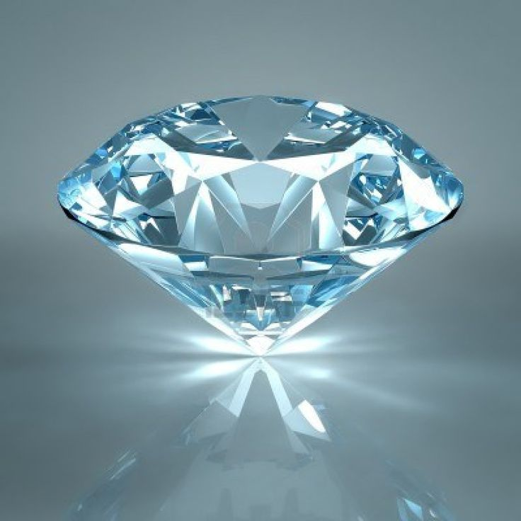 Diamond jewel isolated on light blue background. Beautiful sparkling diamond on a light reflective surface. High quality 3d render with HDRI lighting and ray traced textures. Stock Photo