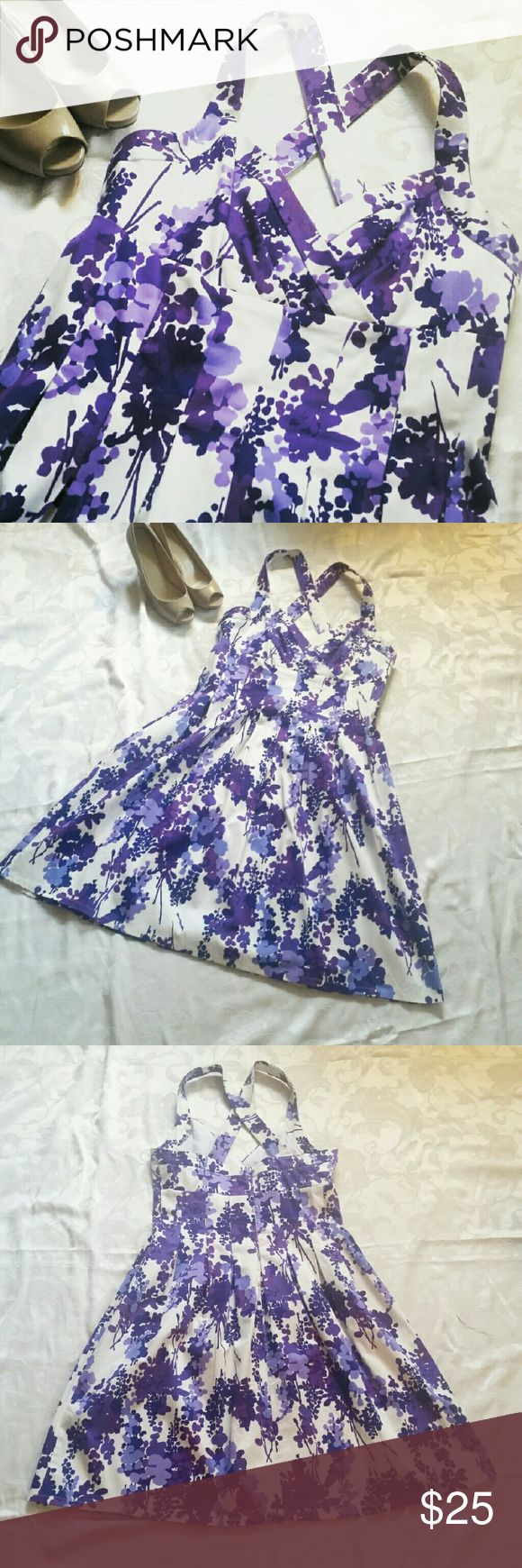 London Style Sundress Ready for tea with the queen? ??  Lavendar and purple print on white. Sweatheart neck and cross back straps. Darts in bodice and into skirt. Literally worn once. Like brand new.   Shoes not for sale. London Style  Dresses