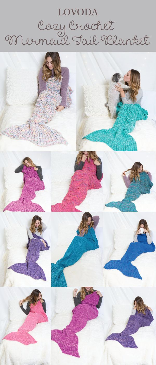 Show off your scales and bring out your inner #mermaid charm! Cozy crochet mermaid tail #blankets. A perfect #gift idea for kids, teens or adults! #want