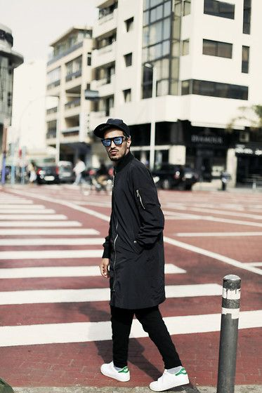 Givenchy Inspired Cap, Byther Dark Long Bomber Jumper Jacket, Zara, Adidas Stan Smith