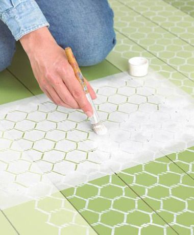 Painted floors...love the chicken wire look...perfect for my old house.