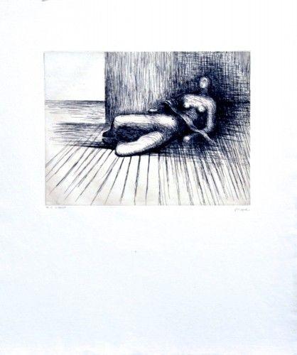 HENRY MOORE //  found on www.kunzt.gallery / Reclining Figure, 1978 / Etching