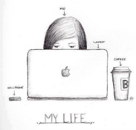 So true, but I'm a PC girl. #art #drawing #sketch #computer #coffee #