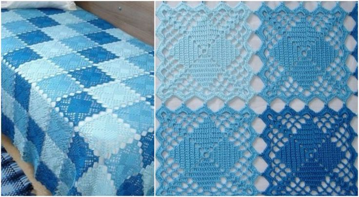 Blanket With Square Motifs – Free Pattern – Craft Addicts