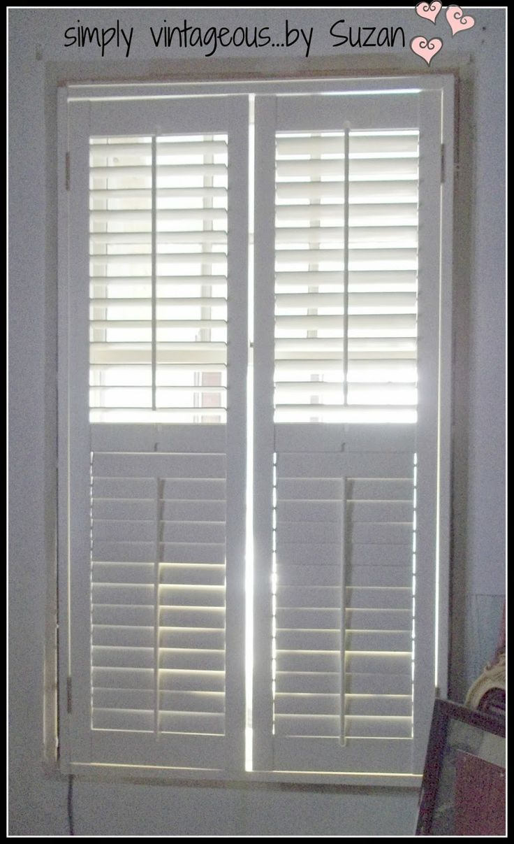 how to make shutters look custom made | simply vintageous...by Suzan. This blog is so funny...check it out.