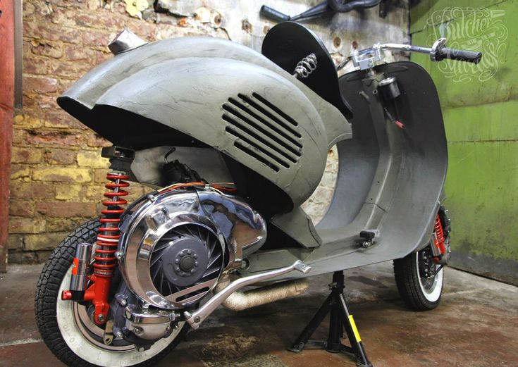 Rocketgarage cafe racer scooter sick scoots pinterest for Vespa cafe racer