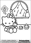 Coloring page with Hello Kitty. This colouring page show Hello kitty sitting inside with a Teddy bear having tea on a rainy day. A colorable window with rain outside is shown behind Hello Kitty that can be colored as well. The details on this Hello Kitty coloring sheet include a tea cup, a tea pot, a colorable clock on the wall and of course Hello Kitty and her Teddy that can be colored.