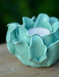 Portacandele fiore verde acqua