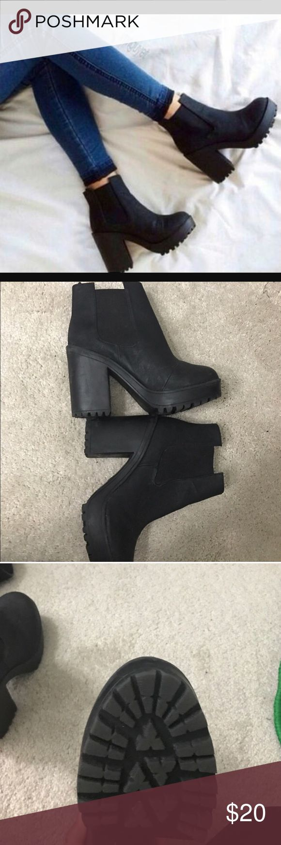 H&M BOOT HEELS Worn once! As you can see the bottoms are almost new. Great condition size 5.5 H&M Shoes Heeled Boots