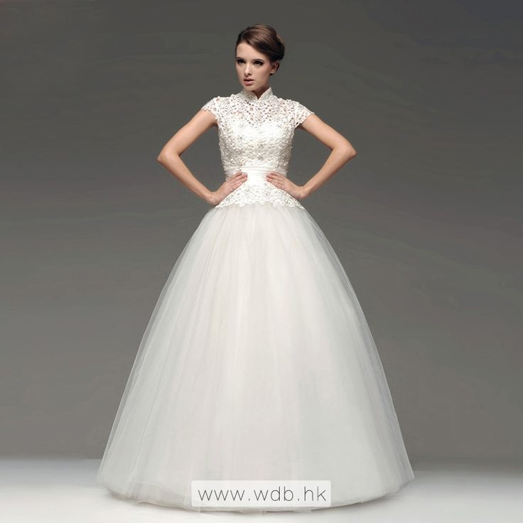 """High neck lace top with tulle skirt floor-length wedding dress $259.88"""