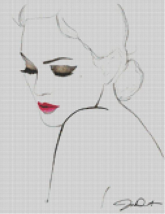 0 point de croix visage silhouette - cross stitch lady's face