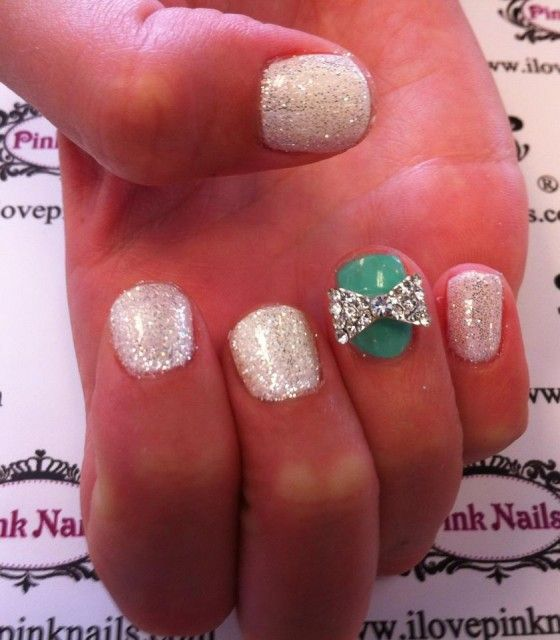 White and Mint Bow Nails