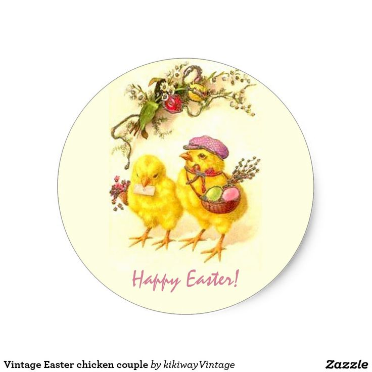 Vintage easter chicken couple classic round sticker