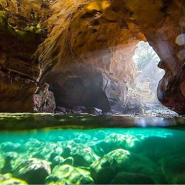 Secret sea cave in San Diego, California.