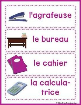French Classroom Word Wall: Use these word wall slips in the French classroom to familiarize students with the names for the objects surrounding them.  Great for getting a conversation started in the classroom.  There are 31 French vocabulary slips in all and they print four to a page.