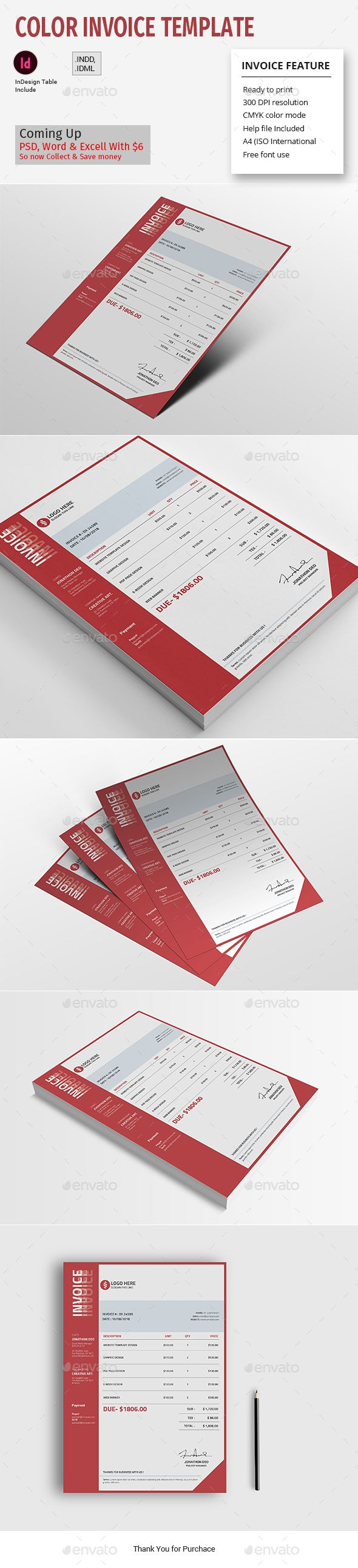 Color Invoice Template Invoice Template Invoice Design Stationery Templates