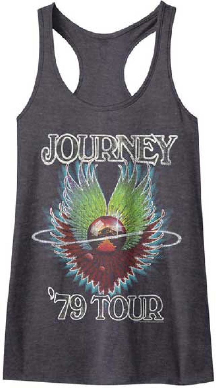 This women's vintage Journey concert tank top t-shirt is from the band's 1979's concert tour, which was performed to promote their most recent album release at the time: Evolution. Evolution was Journey's first album with current drummer Steve Smith. Our women's Journey tee is made from 100% black cotton and displays the album cover artwork from Evolution as well as the Journey name and '79 Tour. The graphics feature distressed effects for a vintage look.  #journey #steveperry #rockerrags