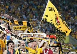 DRESDEN, GERMANY - AUGUST 13:  Fans of Dresden  during the Third League match between SG Dynamo Dresden and FC Rot-Weiss Erfurt at Glücksgas-Stadion on August 13, 2015 in Dresden, Germany.  (Photo by Karina Hessland/Bongarts/Getty Images)