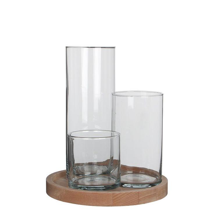 Jarrón de cristal cilíndrico para flores, base de madera con 3 jarrones de cristal para centro de mesa floral. Cristal de floristería, Decoración de bodas con jarrones de cristal. Ideas decoración con floreros de cristal. cistelleriapou.com