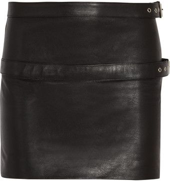 Saint Laurent Buckle detailed Leather Mini Skirt