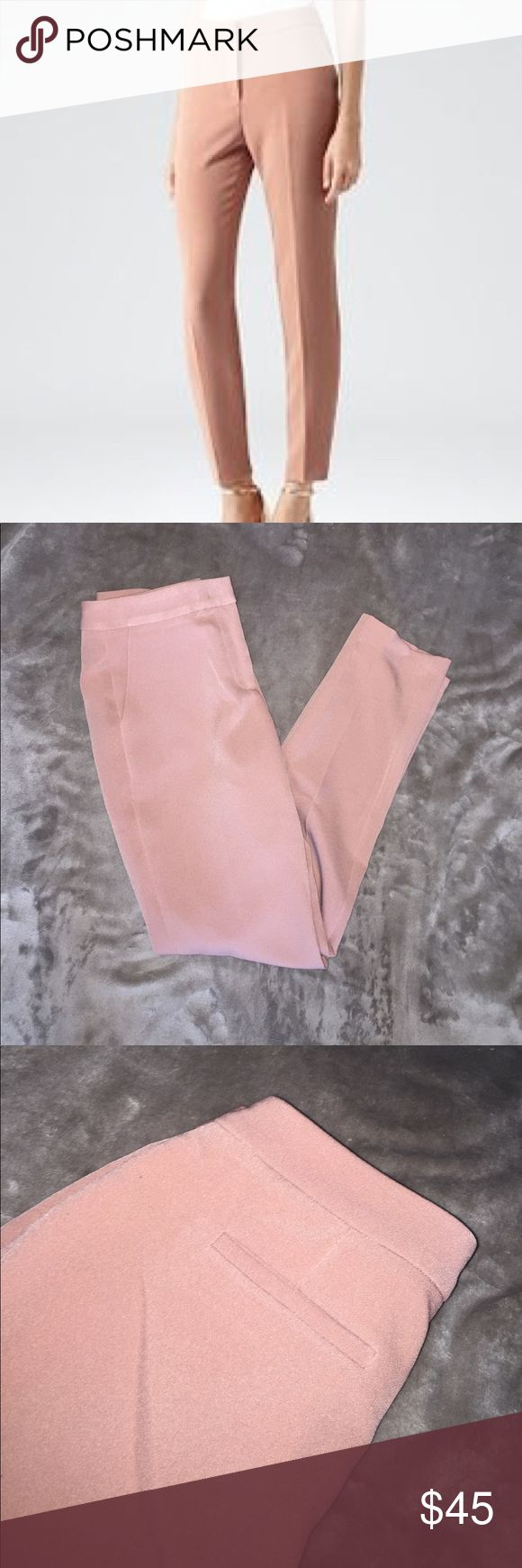 REISS Paris Lan Trousers Gorgeous, high waisted, tailored, ankle length REISS trousers. Gently worn in good condition! Beautiful salmon color with front pockets and sown together back pockets. Button zipper and metallic clasp closure. Reiss Pants Trousers