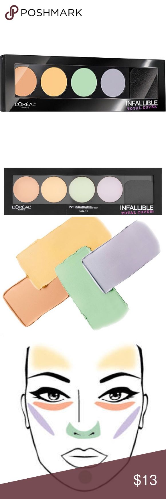 NEW L'ORÉAL Infallible Total Cover Color Kit  BRAND NEW, never opened. Perfect condition. From my smoke free home. Original Retail: $17  ABOUT ---: A pro-inspired cream palette that color corrects and neutralizes skin tone imperfections. The Infallible Total Cover Color Correcting Kit balances, corrects, and perfects your skin as you wipe out any discolorations with these powerful cream complexion correctors. Includes a coordinating visual guide to make the professional technique of…