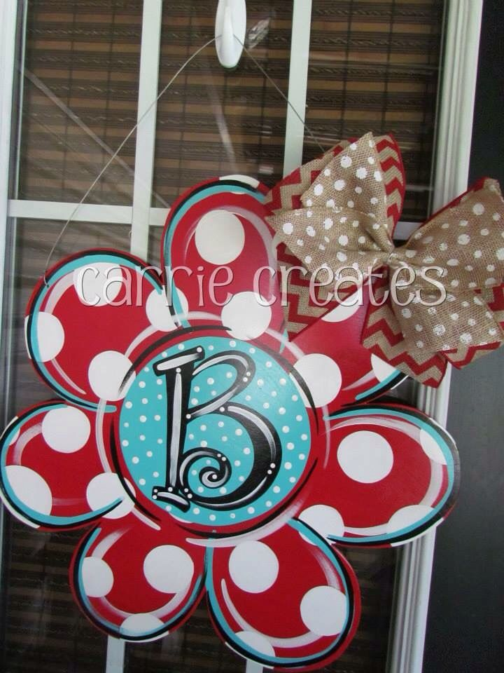 "Flower Door Hanger $45 (can ship anywhere in U.S.) personalize it. Perfect for any front door. Choose red and Aqua or choose your own colors. www.creationsbycarrieb.com Order on FB ""Carrie Creates"" Carrieiscreating@yahoo.com"