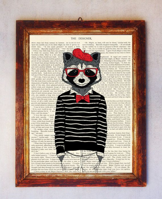 Raccoon Art Print Raccoon with Glasses Print Raccoon Wall