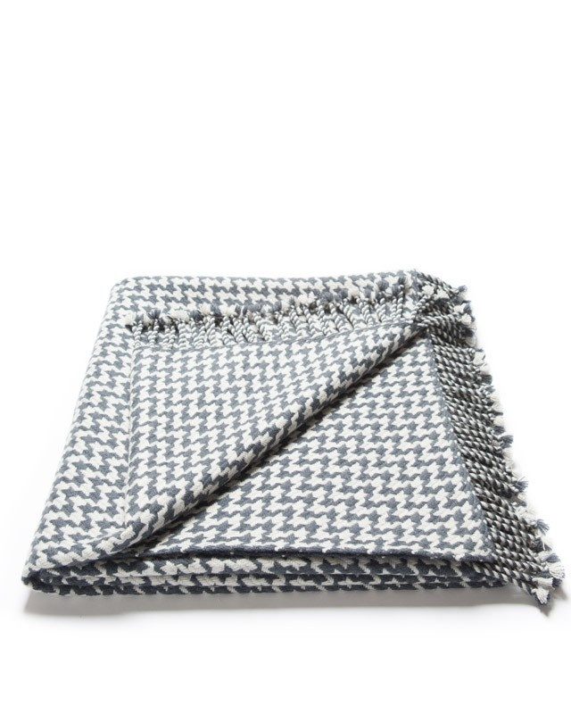 Charcoal & Silver Handtooth Cashmere Throw | #blanket, #throw | thepicketfence.com