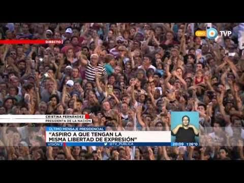 Visión 7 - Cristina se despide ante una multitud en la Plaza de Mayo
