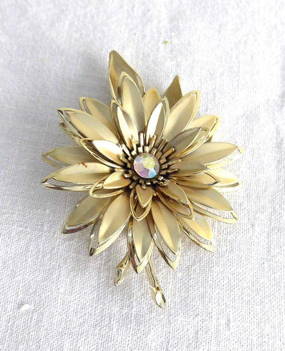 Statement Brooch Large Gold Flower Pin 1960s By