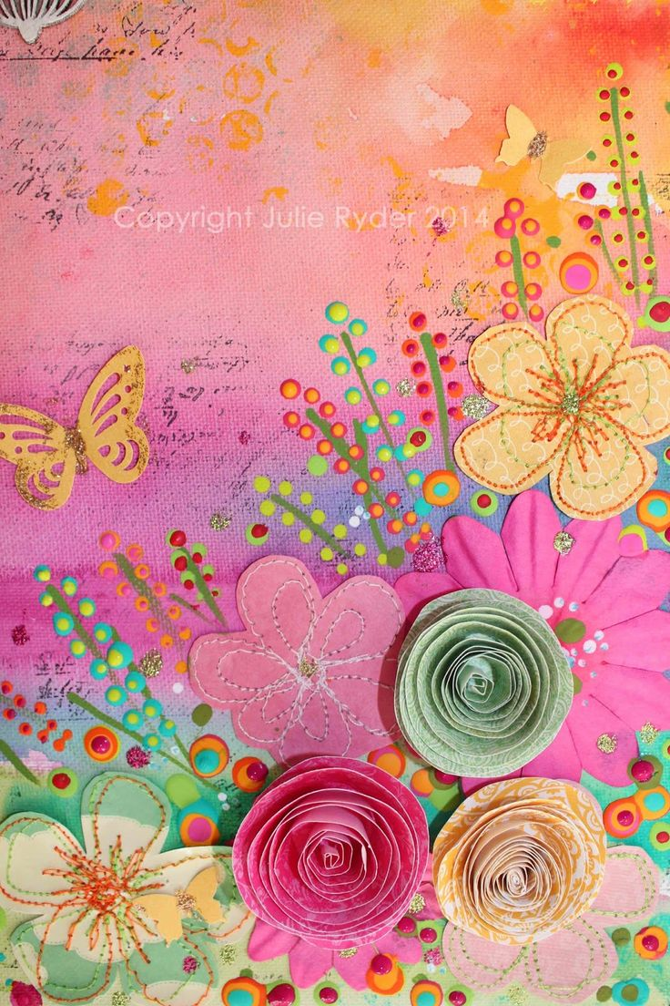 Close up view of Summer Breezes, mixed media on canvas.