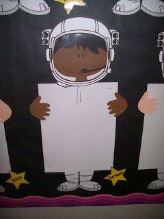 Space theme bulletin board work display idea
