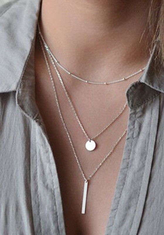 Silver Fashion Alloy Pendant Necklaces - Necklaces - Jewelry