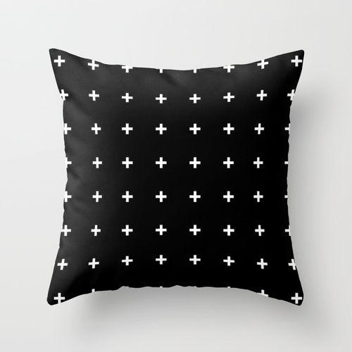 White Cross on Black // White Plus on Black Throw Pillow