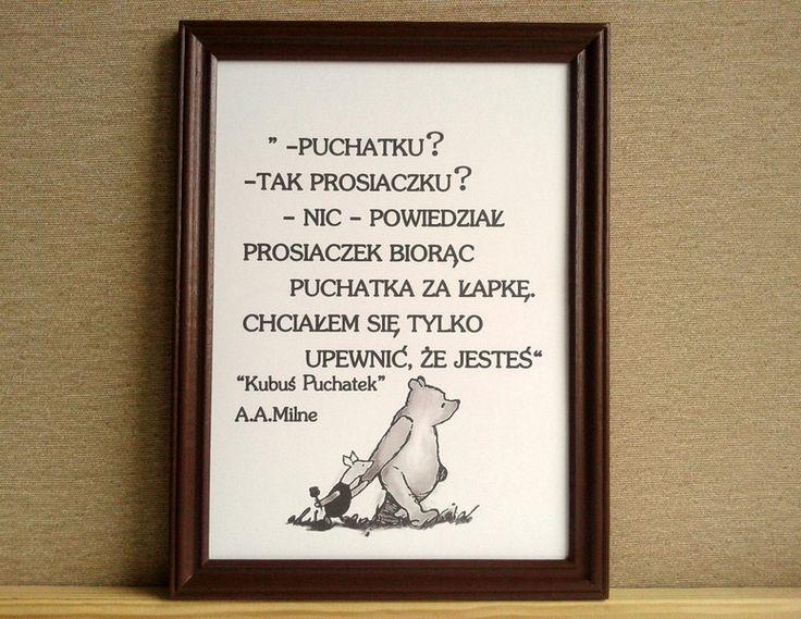 Plakat KUBUŚ PUCHATEK cytat vintage - Sanwers - Ozdoby na ścianę