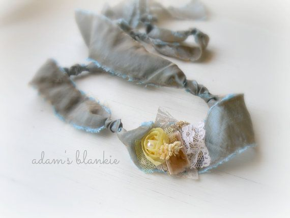 Sage - Open Halo Headband Wrap Tie Back - Yellow Tan Blue Beige Cream - Satin - Newborn Baby Girl Infant Adults - Photo Prop