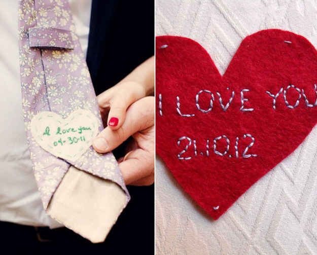 31 impossibly romantic wedding ideas  Surprise the groom with a hidden message on the back of his tie.