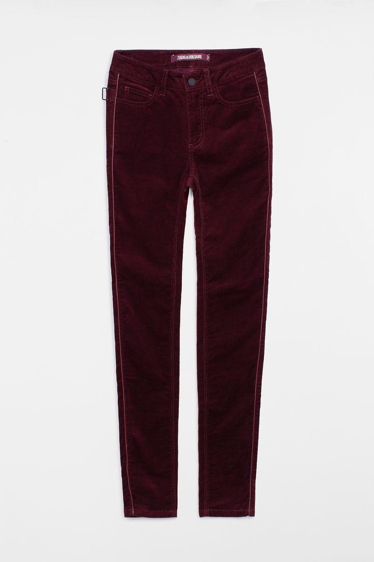 pantalon pour femme eva velours pantalon prune Zadig & Voltaire