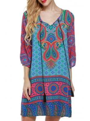 Mavi ACEVOG Kadın Etnik Vintage Stil Bohem Kravat Çiçekli Baskı Geçiş Casual Elbiseler