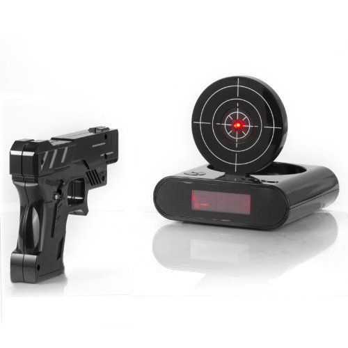 Gun and Target Recordable Alarm Clock. Birthday gifts for teen guys. 16 year old boys.